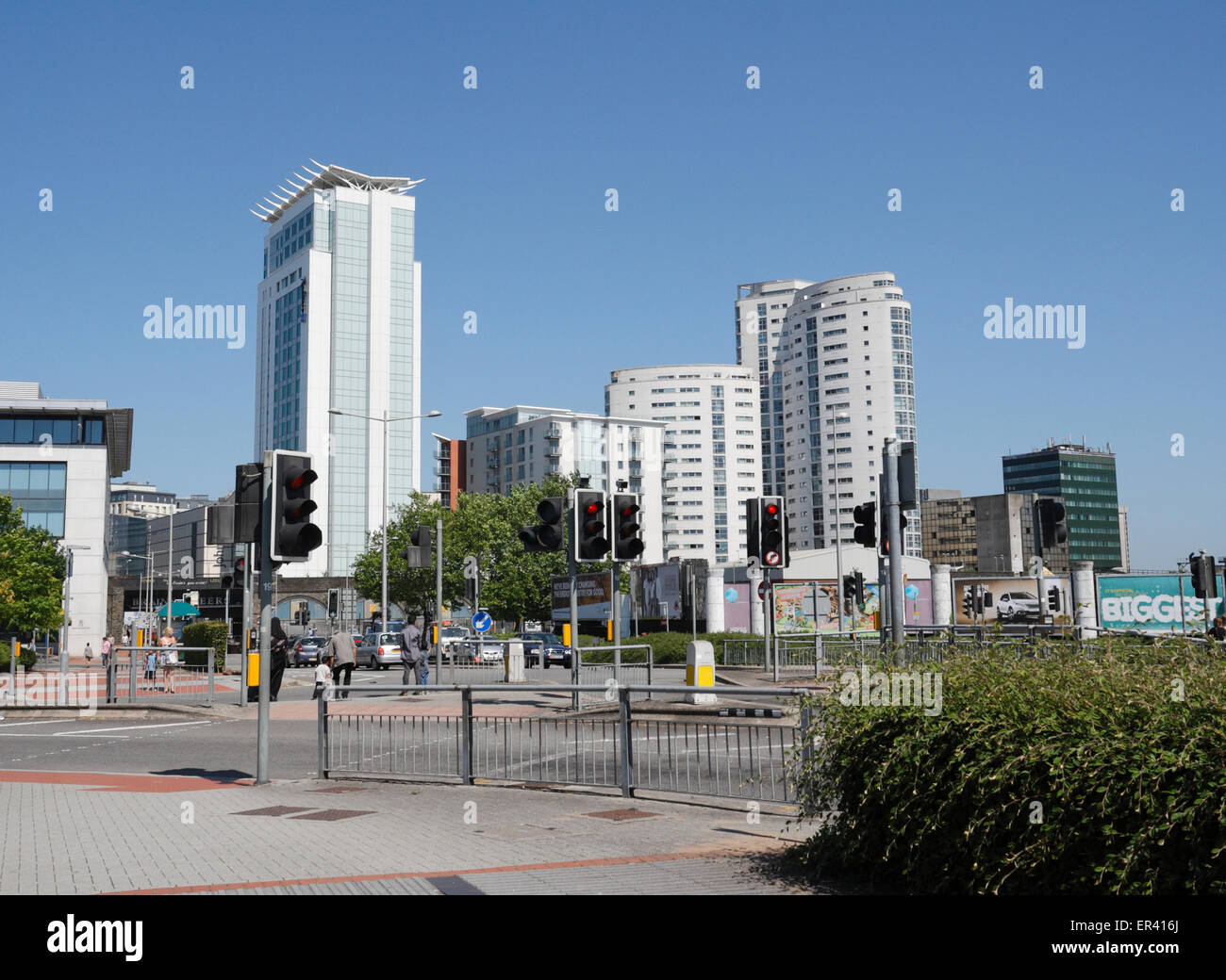 Cardiff City Skyline, Tall Building Structures - Stock Image