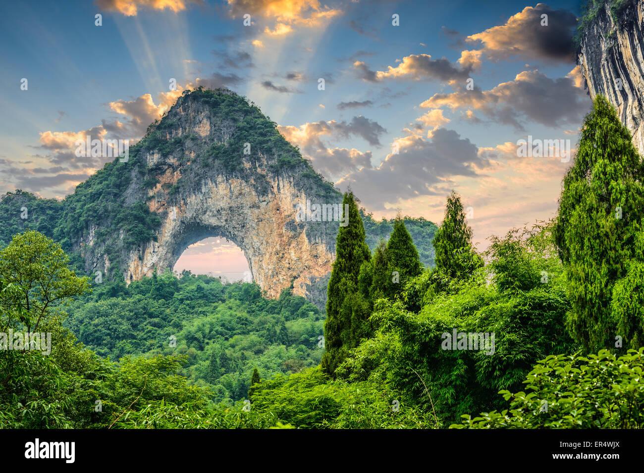Moon Hill, Yangshuo, China. - Stock Image