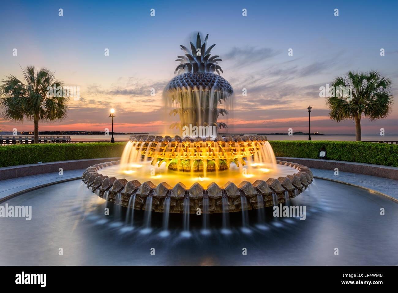 Charleston, South Carolina, USA at the Waterfront Park Pineapple Fountain. - Stock Image