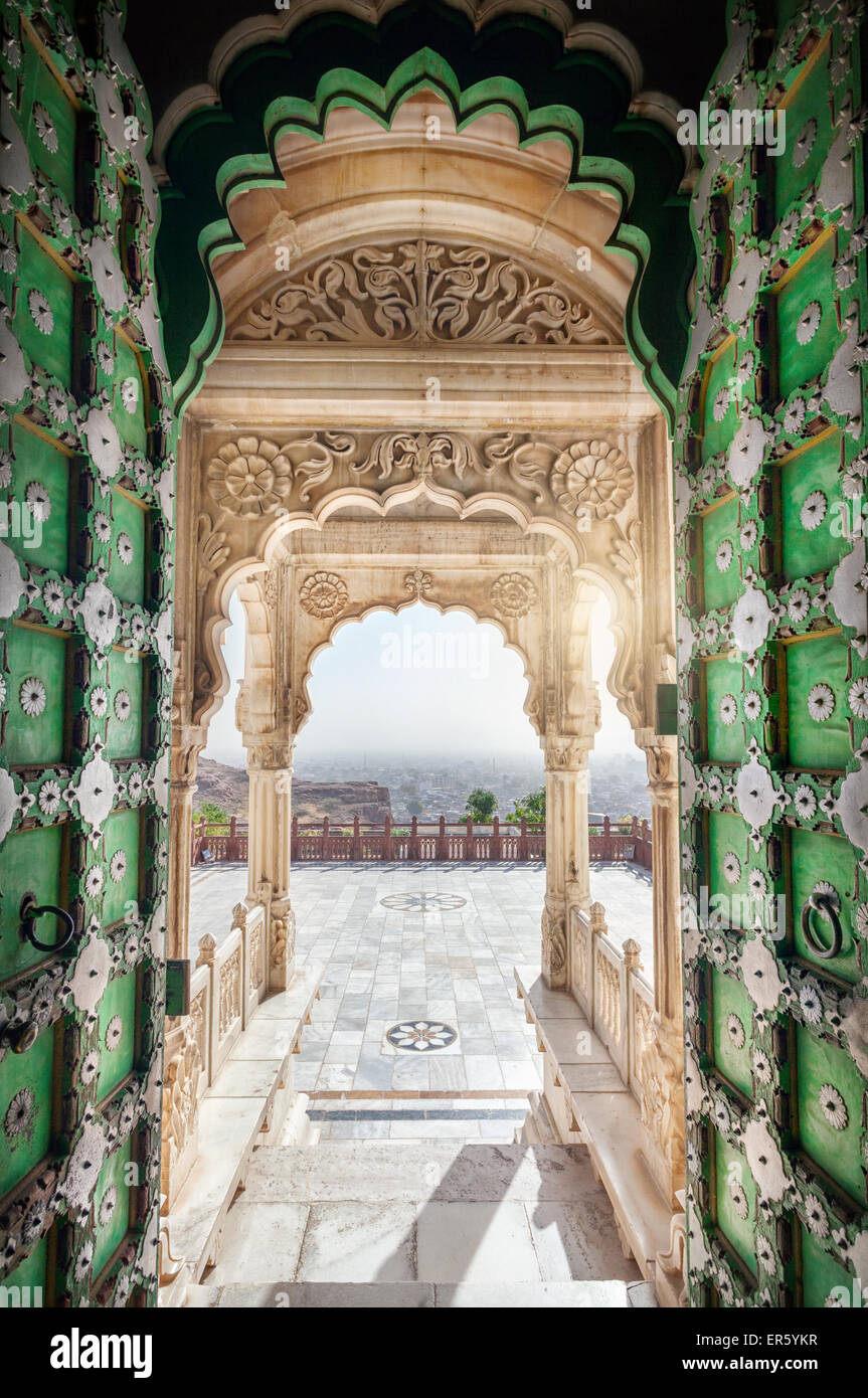 Jaswant Thada memorial with opened green door with view to Jodhpur city in Rajasthan, India - Stock Image