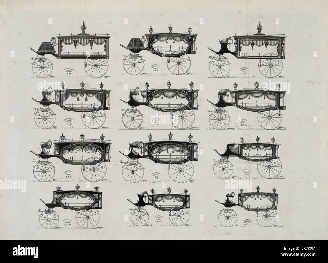 Funeral cars nos. 1-12. - Stock Image