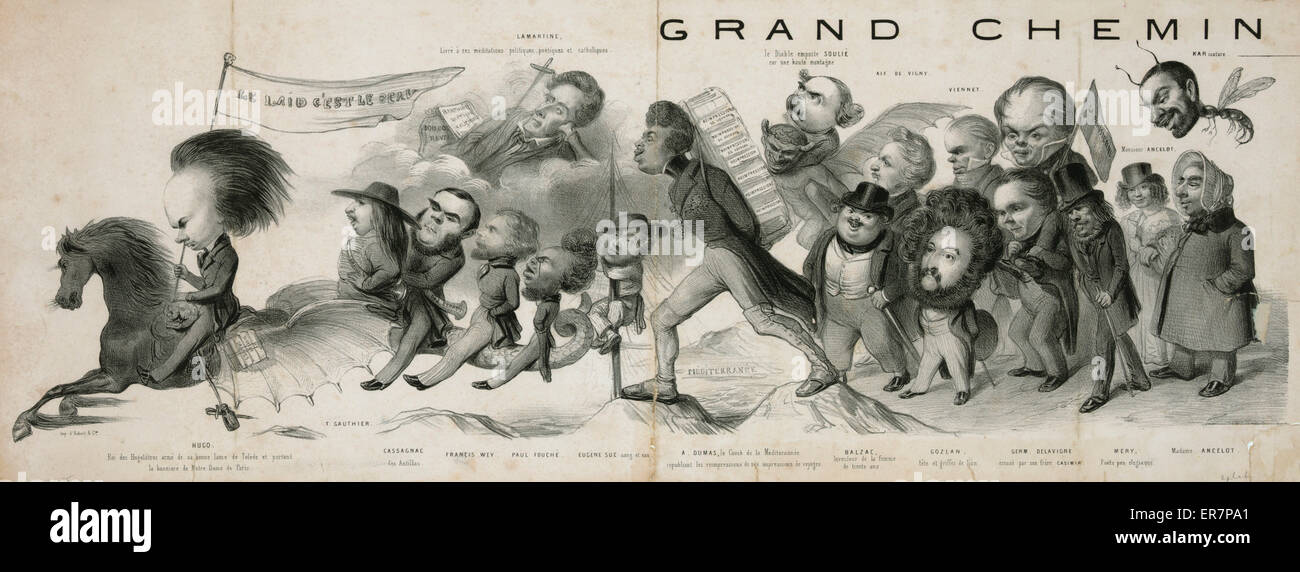 Grand chemin de la posterite. Print showing a procession of French artists and writers as caricatured by Benjamin - Stock Image