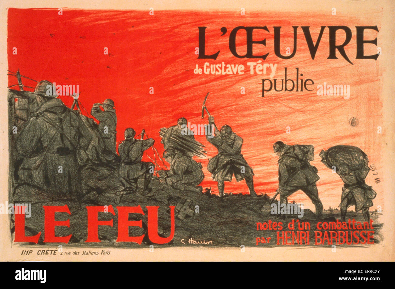 L'Oeuvre de Gustave Tery publie 'Le Feu' notes d'un combattant par Henri Barbusse. Soldiers at the - Stock Image