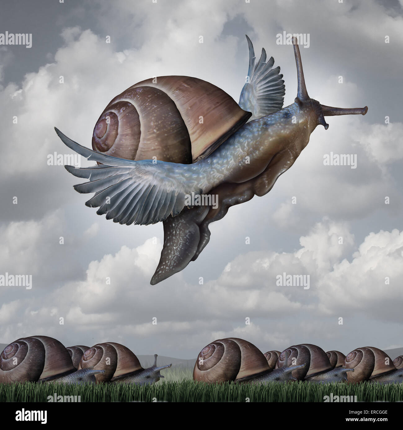 Advantage concept as a business metaphor with a surreal crowd of snails crawling slowly on the ground contrasted - Stock Image