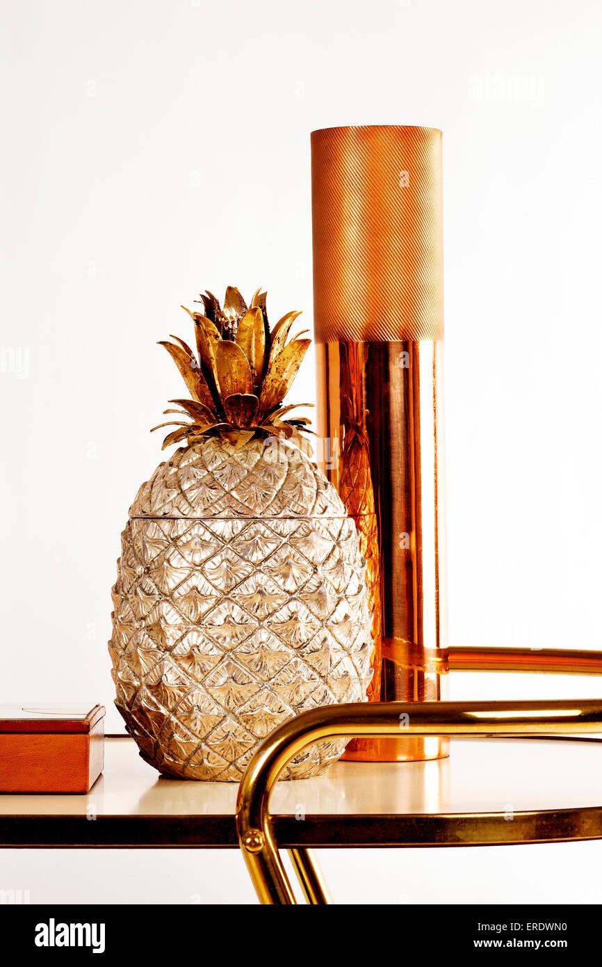 retro bar cart rustic wooden bar golden pineapple ice bucket and copper vase on retro bar cart