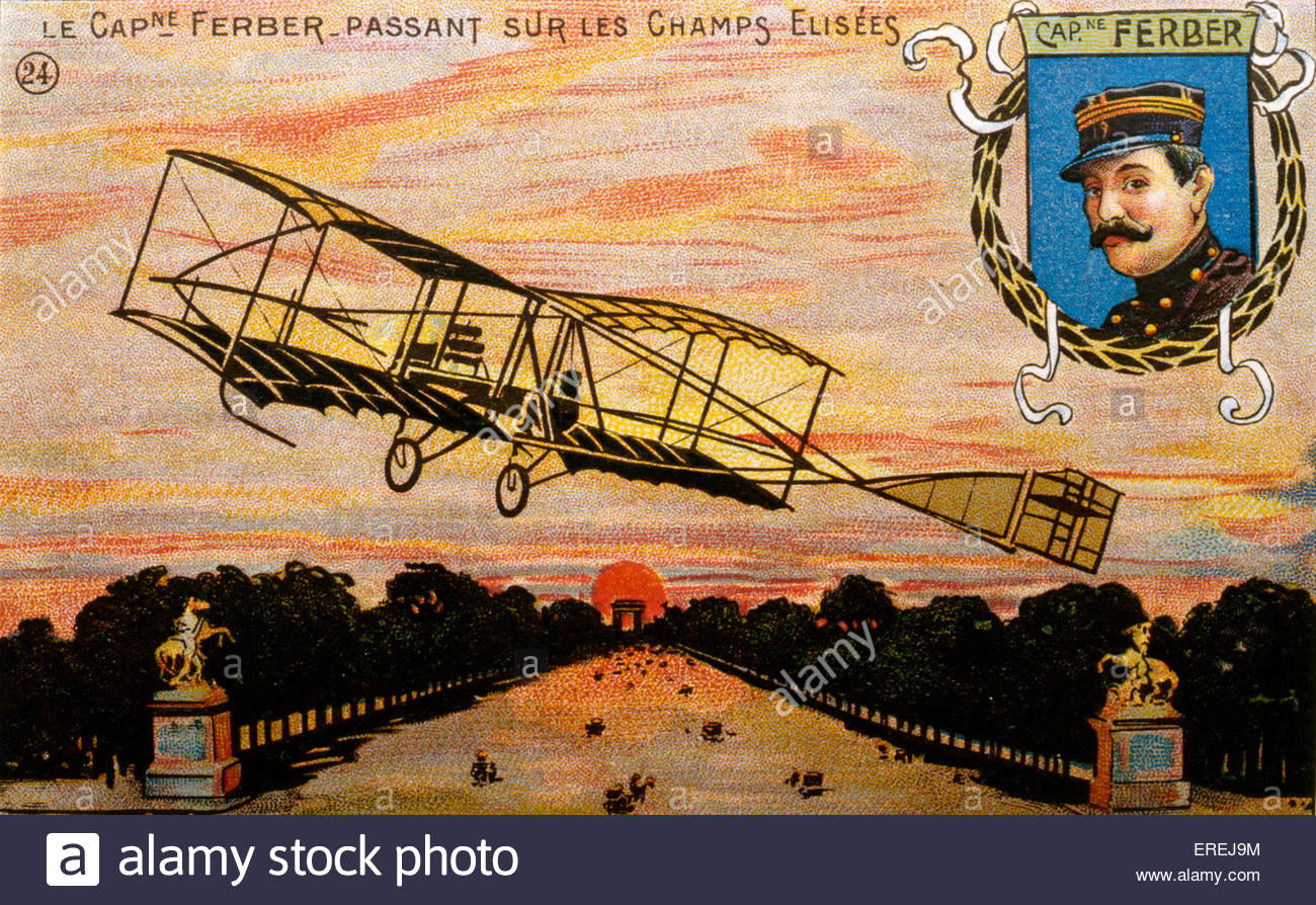 Captain Ferdinand Ferber, French pioneer aviator ( 8 February 1862 - 22 September 1909) - postcard of the early - Stock Image