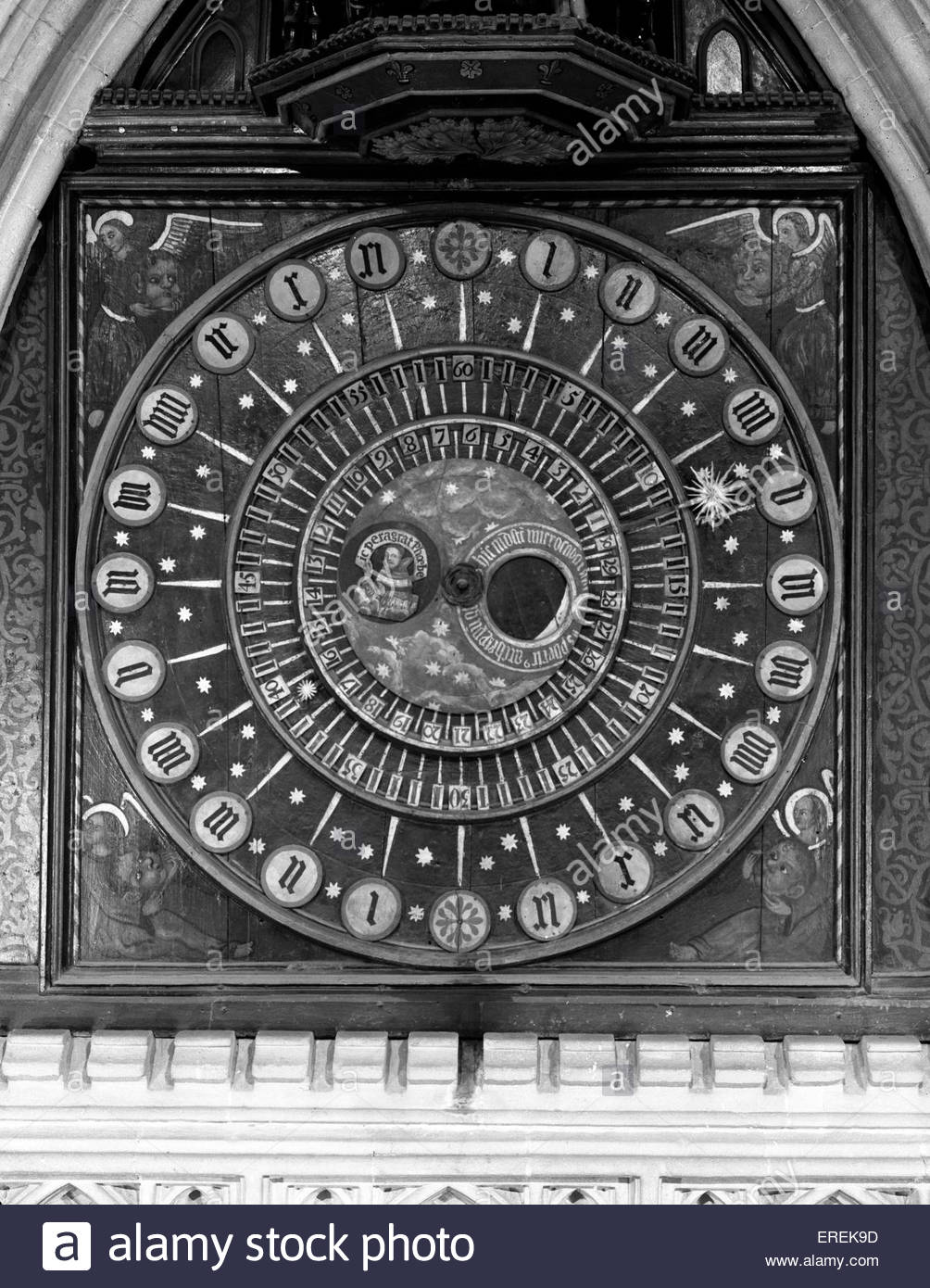 Wells Cathedral Clock, Somerset. 14th century clockface. - Stock Image