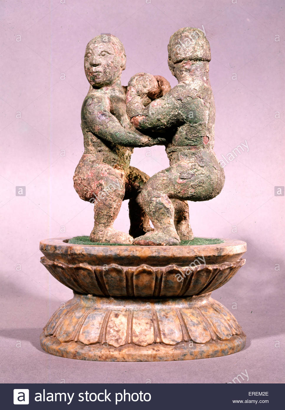 Chinese Wrestlers, small sculpture in bronze. Date unknown. - Stock Image
