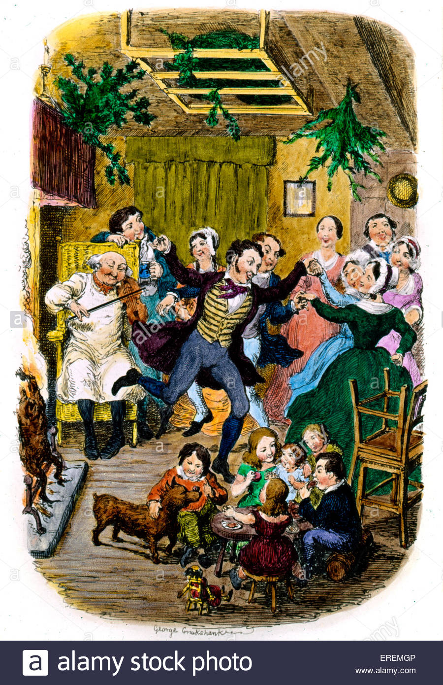 Victorian Christmas card by George Cruikshank, British caricaturist and book illustrator  (1792 –  1878).Courtesy - Stock Image