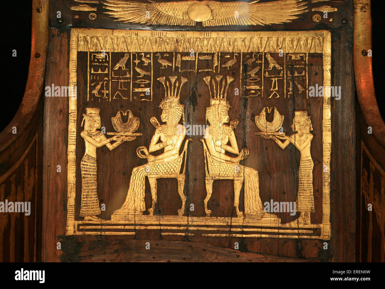 Chair of Princess Sitamun, Dynasty 18, reign of Amenhotep III (1390-1353 BCE), wood,gold,silver, Thebes, Valley Stock Photo