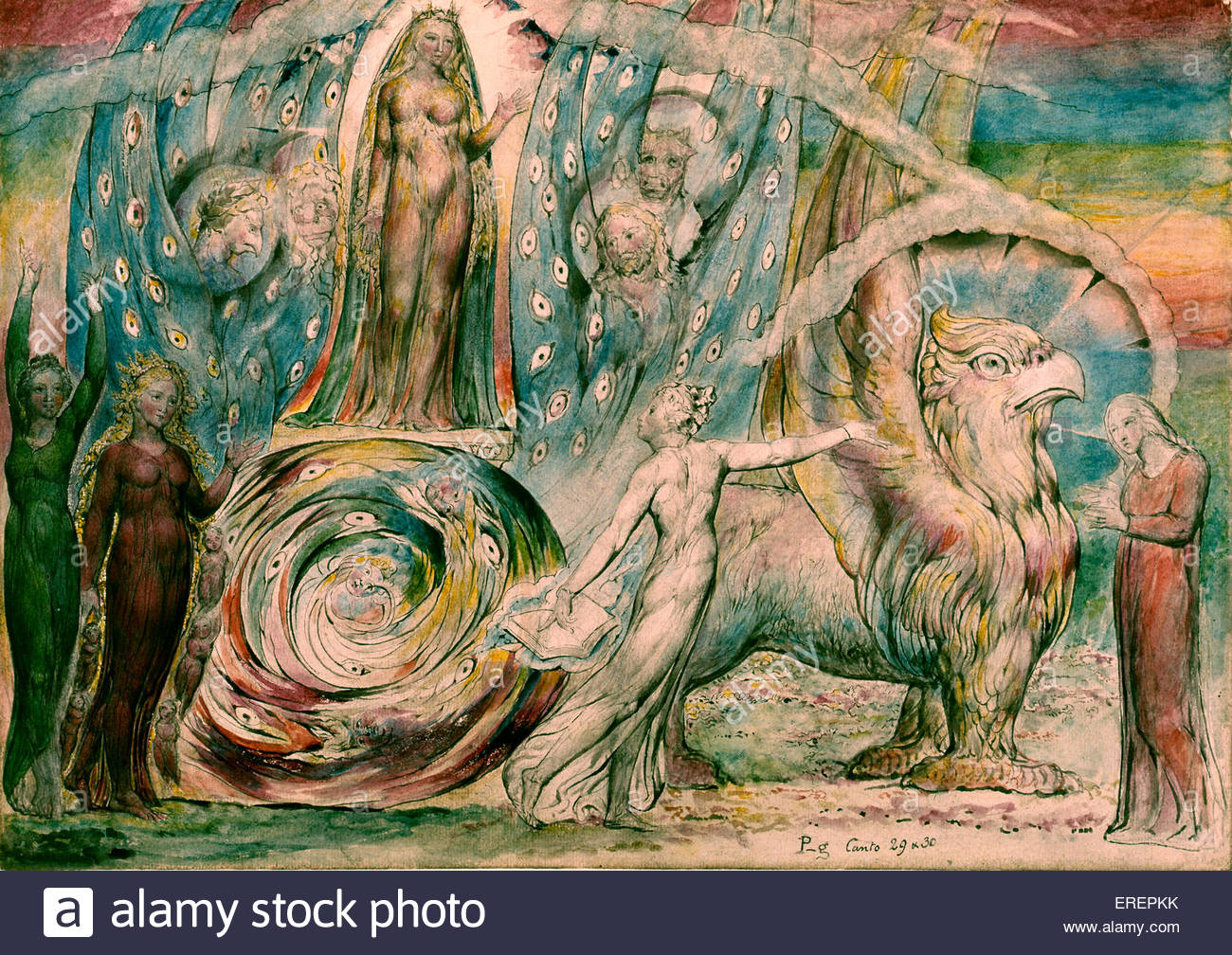 Beatrice Addressing Dante from the Car by William Blake, 1824-7. Illustration of scene from Purgatorio of Dante - Stock Image