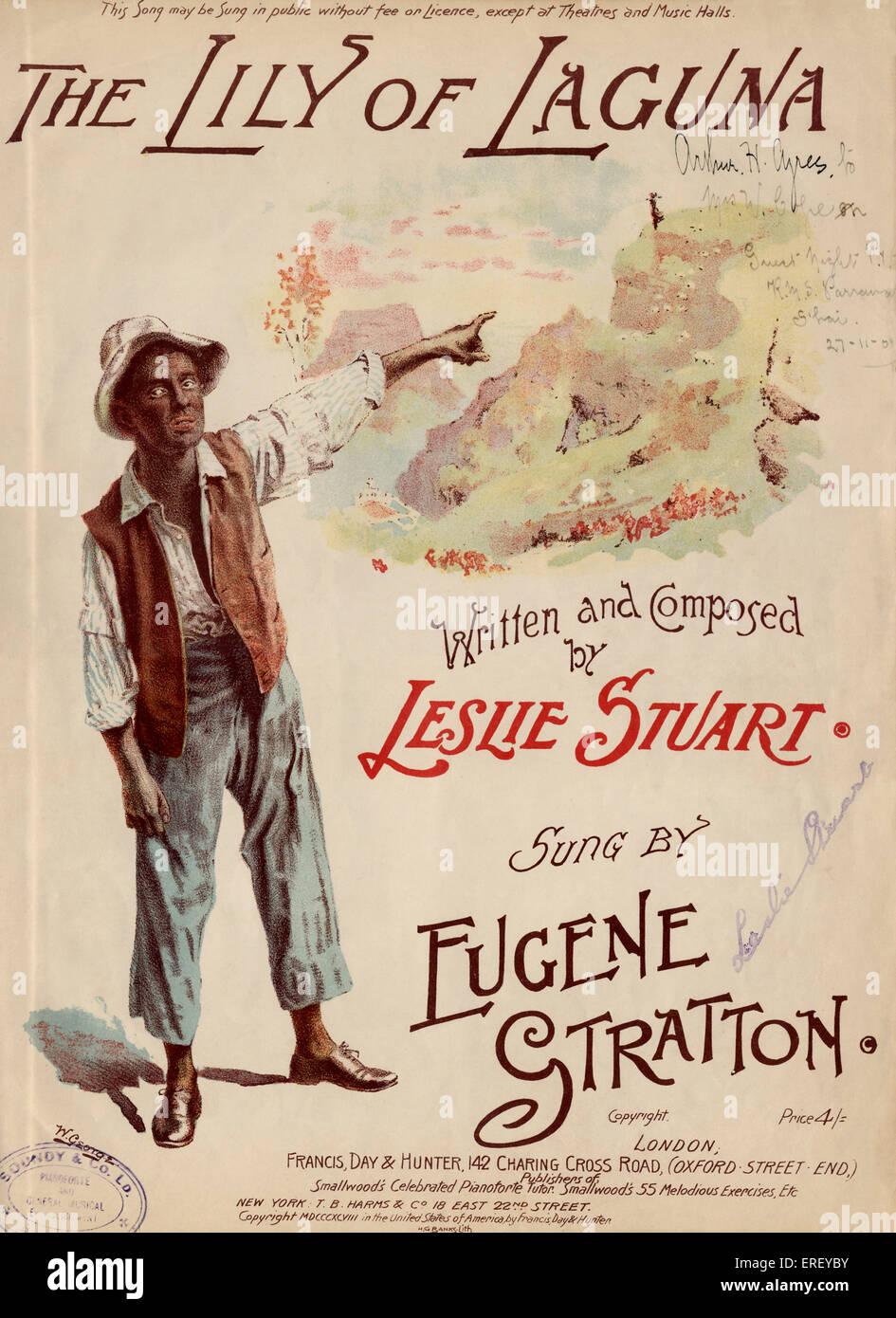 Eugene Stratton on the score cover of 'The Lily of Laguna'. Sung by Eugene Stratton ('blacked up'). - Stock Image