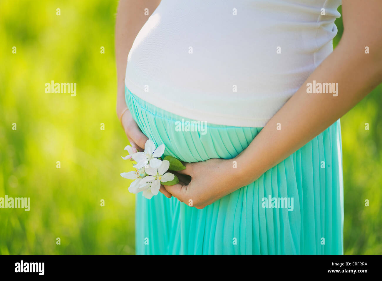 Young expectant mother. Close up of female hands holding pregnant belly. Unrecognizable person. - Stock Image