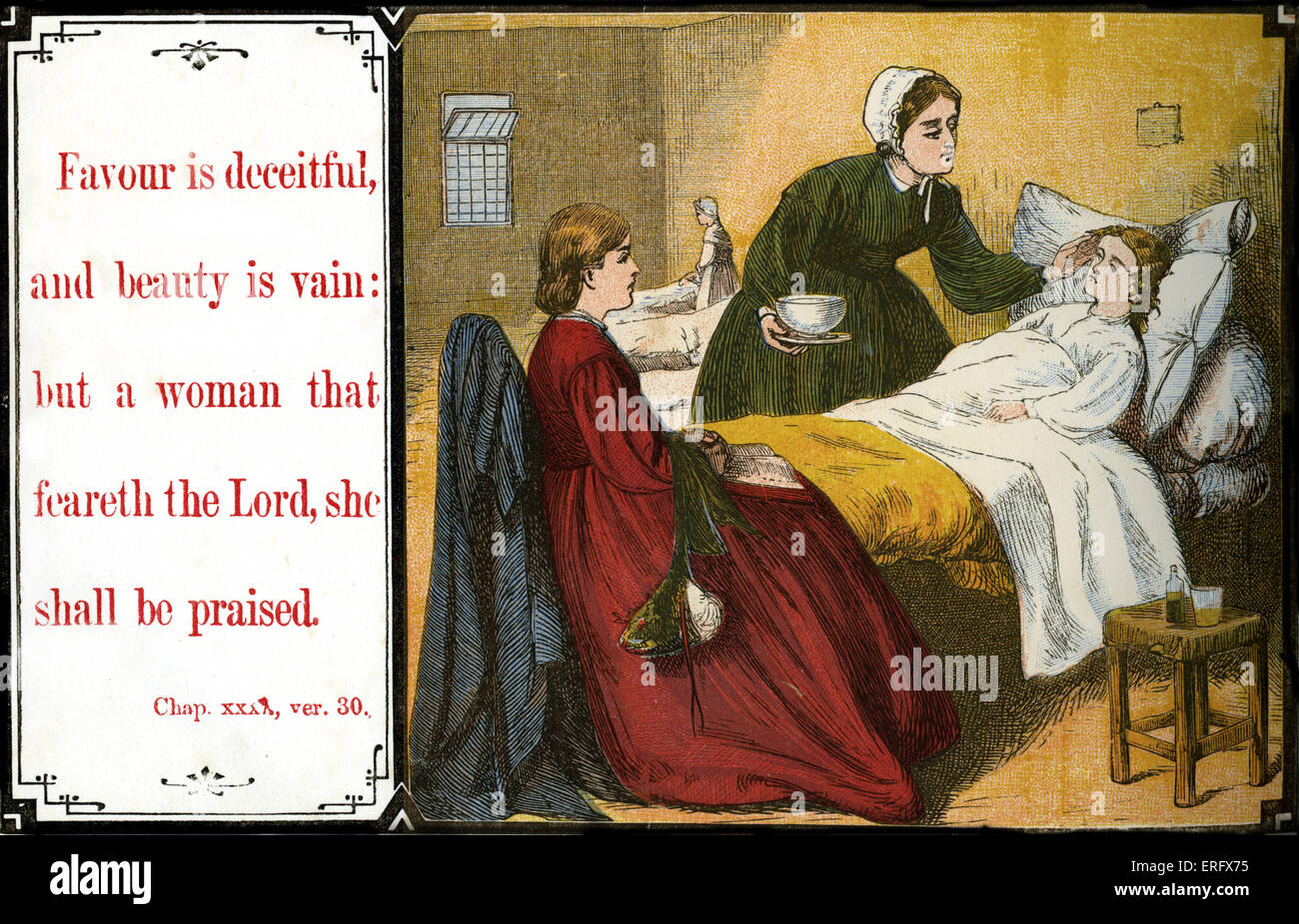 Teaching chidren morals:'  Favour is deceitful, and beauty is vain:  but a woman that feareth the Lord, she - Stock Image