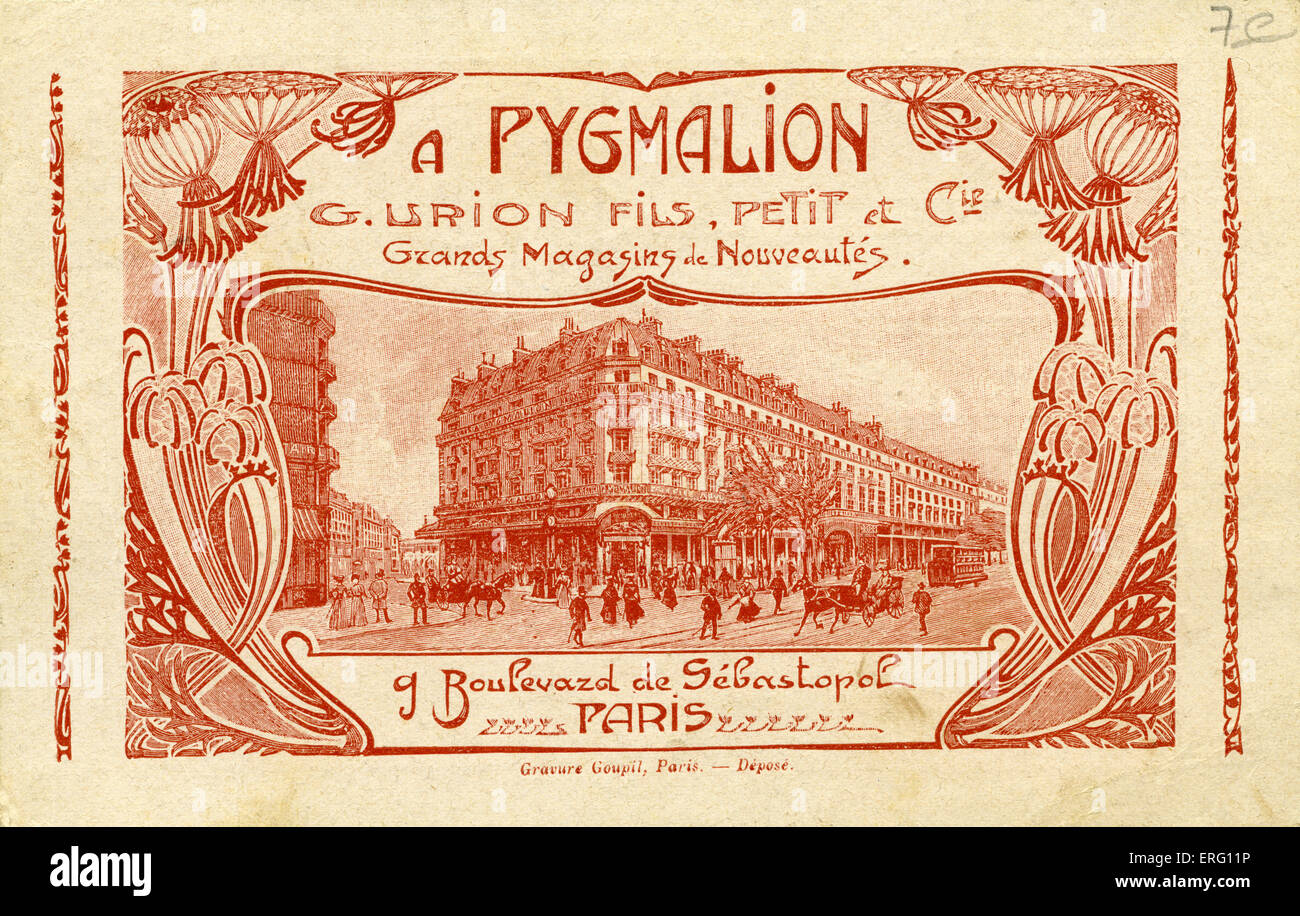 Pygmalion- advertising card for French department store. 'Grands Magasins de Nouveautés Boulevard de Sévastopol, - Stock Image