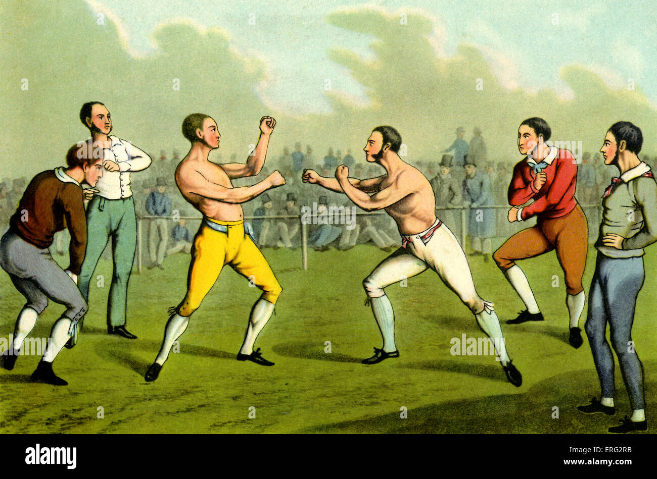 Bare-knuckle boxing.  Engraving by Henry Alken British artist 12 October 1785 - 7 April 1851. - Stock Image