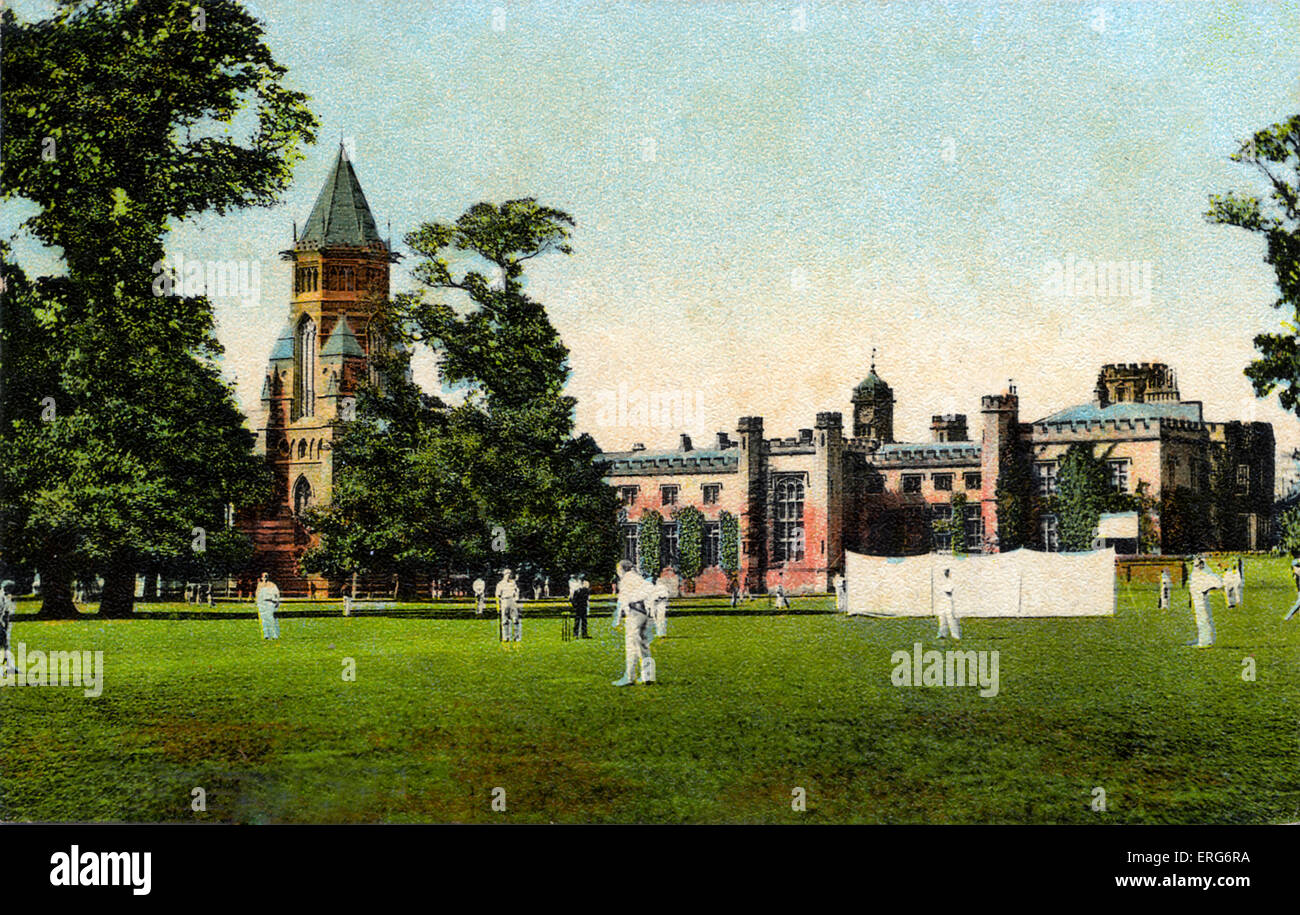 Cricket match at Rugby School, postcard of school and the school grounds. Early 1900s. - Stock Image