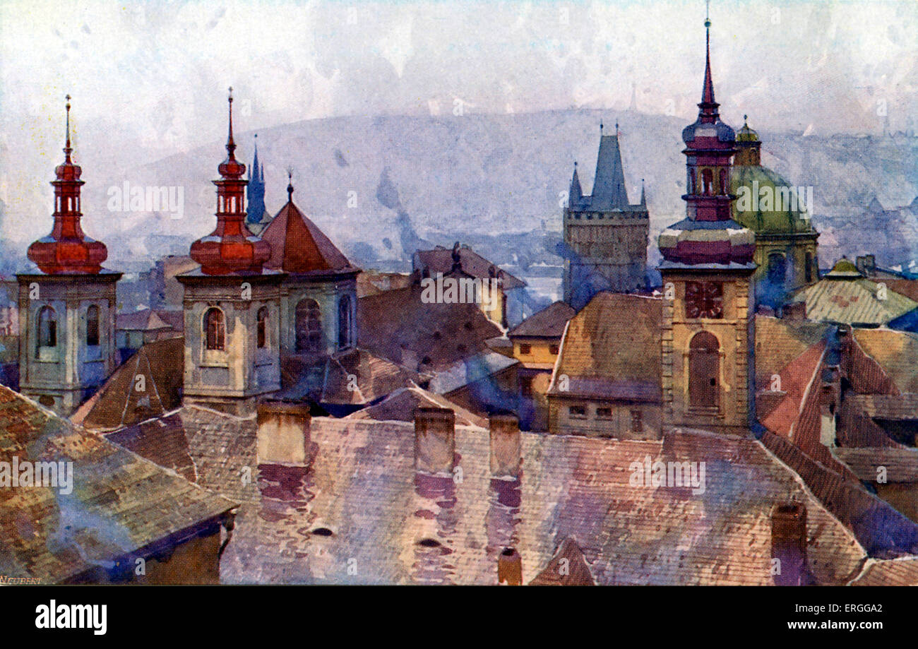 Old Town (Staré Mesto), Prague. Early 20th century postcard. Modern - day Czech Republic. Stock Photo