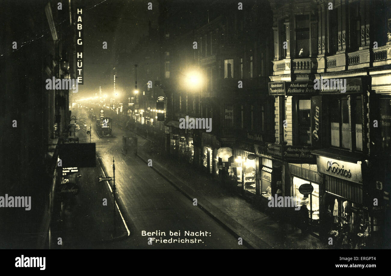 Berlin by night, 1930s? Street view, Friedrichstraße, Berlin, Germany. Stock Photo