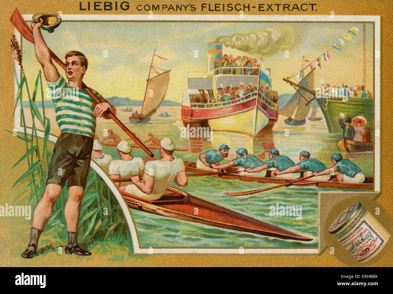A rowing race . Liebig card, Sports, 1896. - Stock Image