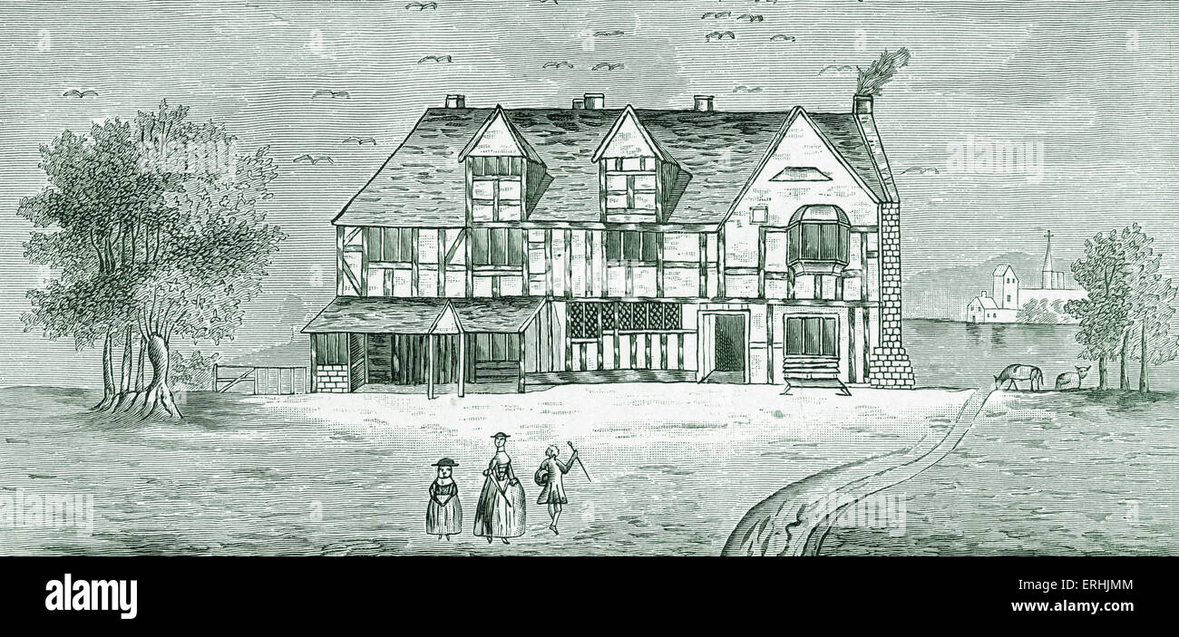 Shakespeare S House Stratford On Avon Old Drawing In British Museum English Playwright April 26 1564 23 1616
