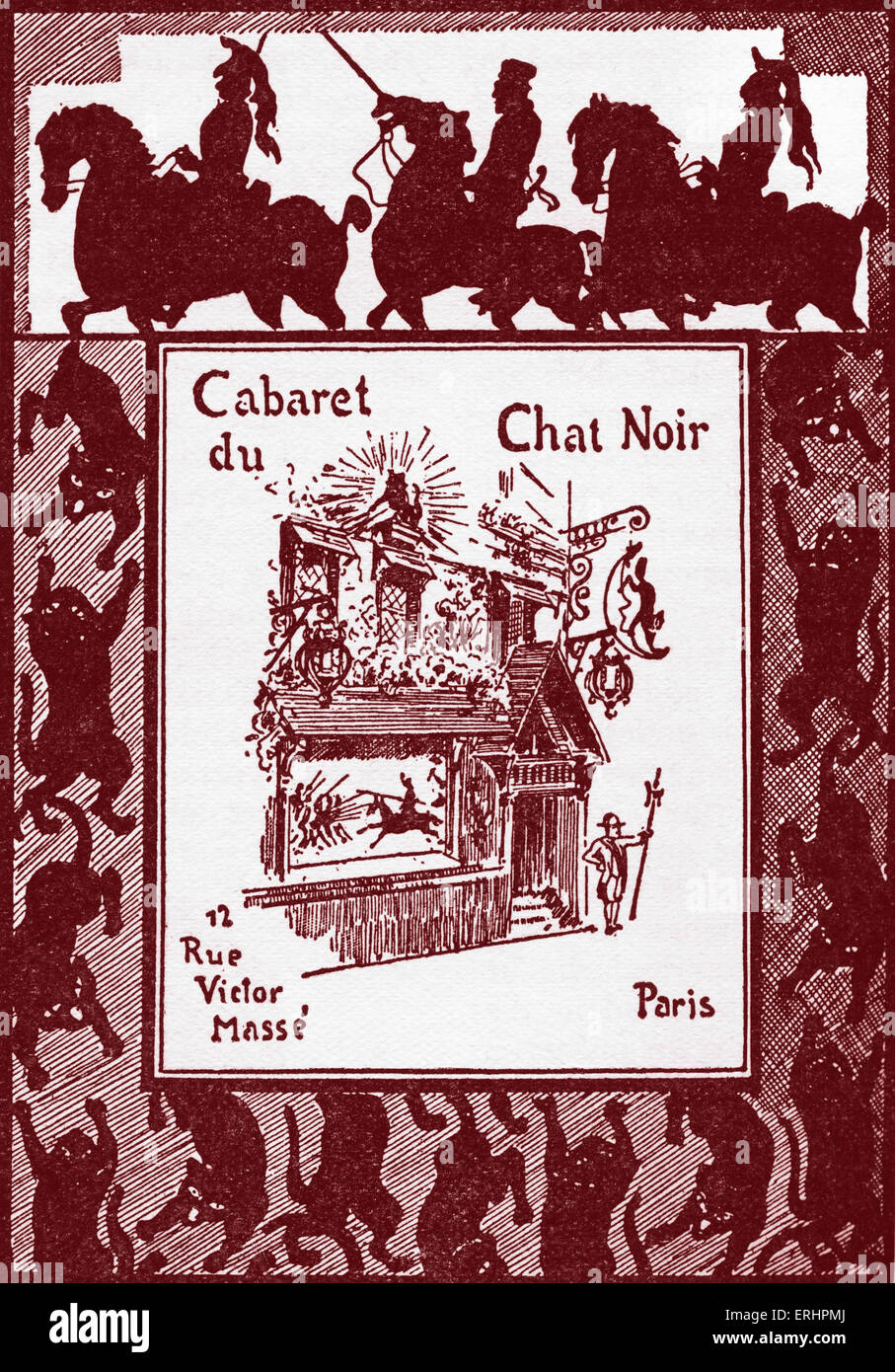 Le Chat Noir - Poster in French advertising a puppet show at the cabaret,  probably designed by Caran d'Ache: - Stock Image