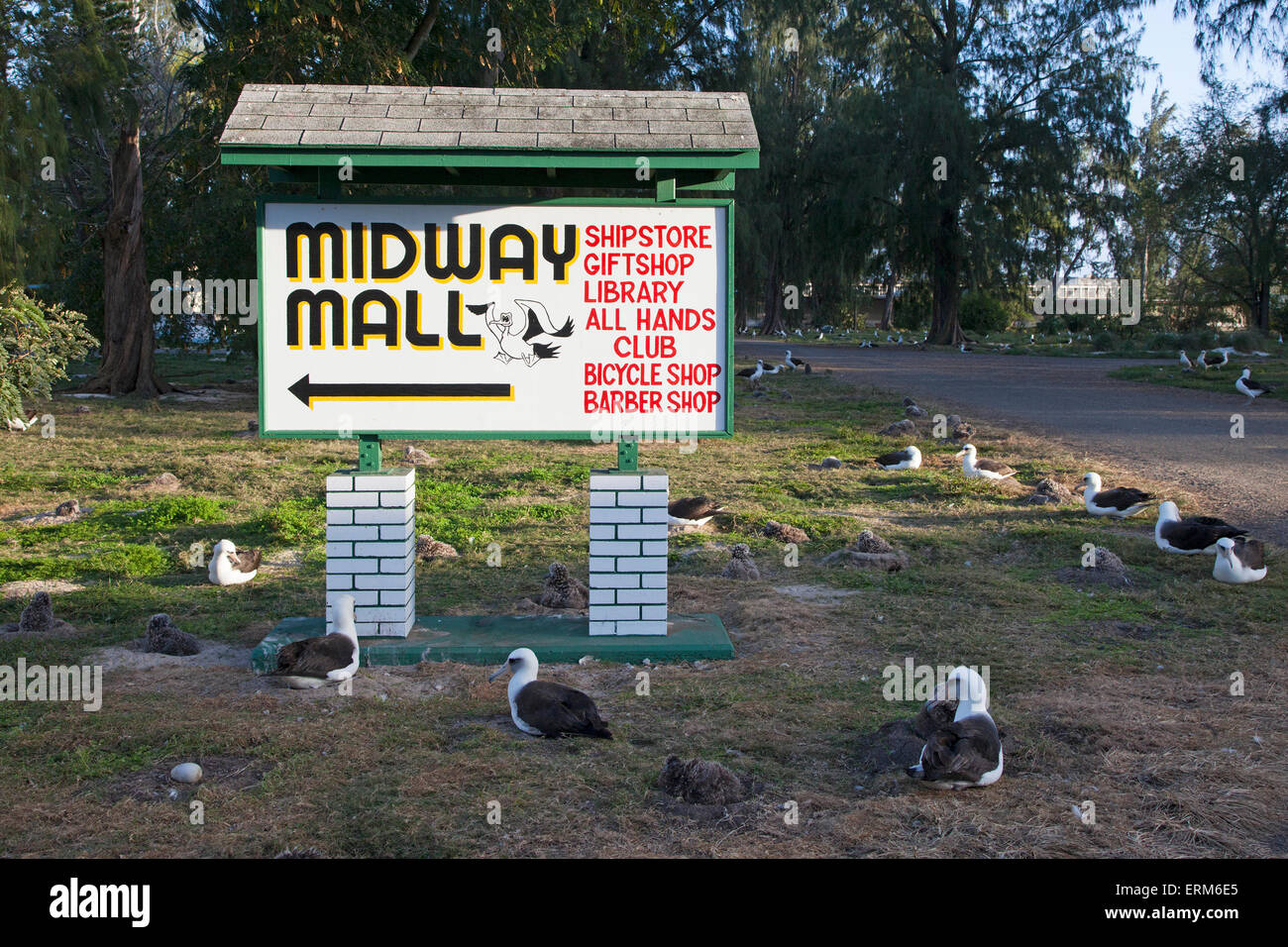 Midway Mall sign on Midway Atoll - Stock Image