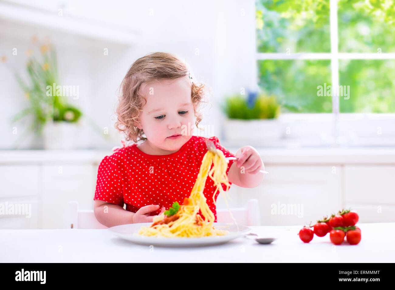 Kids Eat Pasta Healthy Lunch For Children Toddler Kid Eating Spaghetti Bolognese In A White Kitchen At Home Preschooler Child