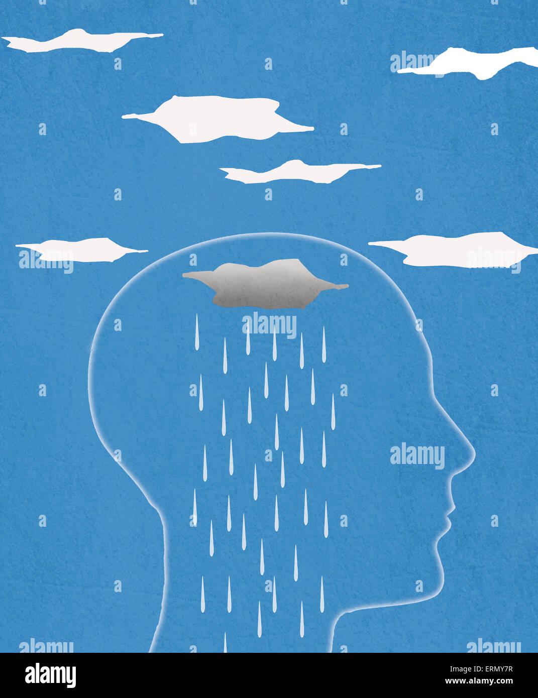 head silhouette  and rain  digital illustration - Stock Image