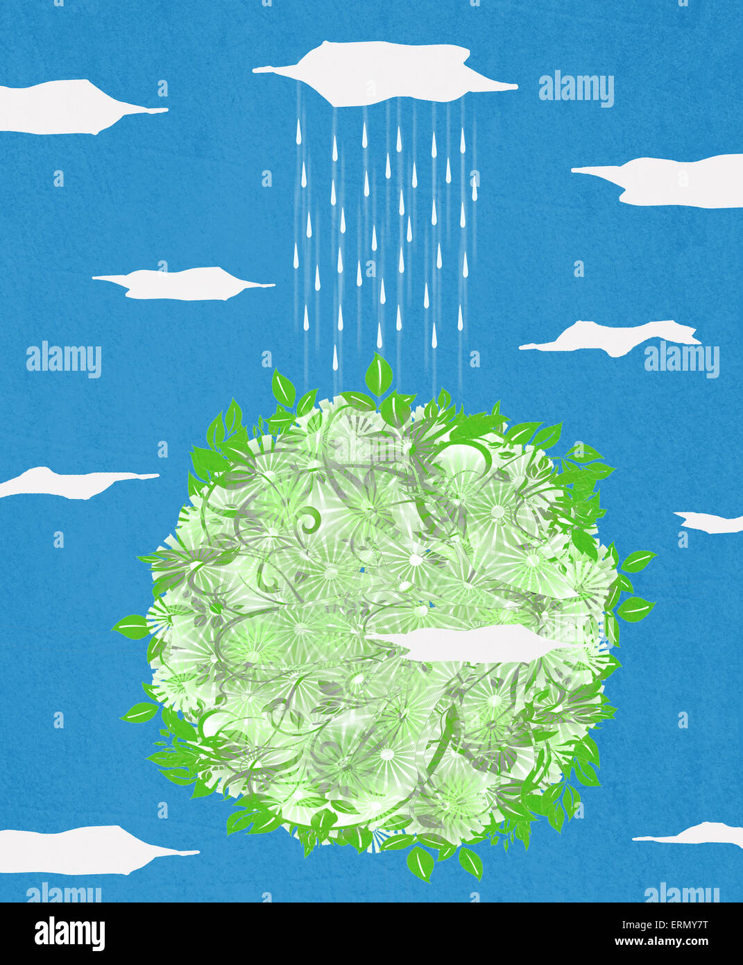 green planet  and rain digital illustration - Stock Image