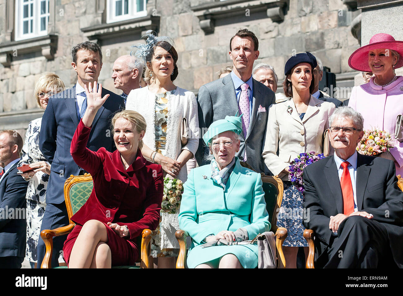 Copenhagen denmark may 5th 2015 the pm and the royal family and copenhagen denmark may 5th 2015 the pm and the royal family and the speaker of the house sits at the parliament courtyard where the outdoor part of the sciox Image collections