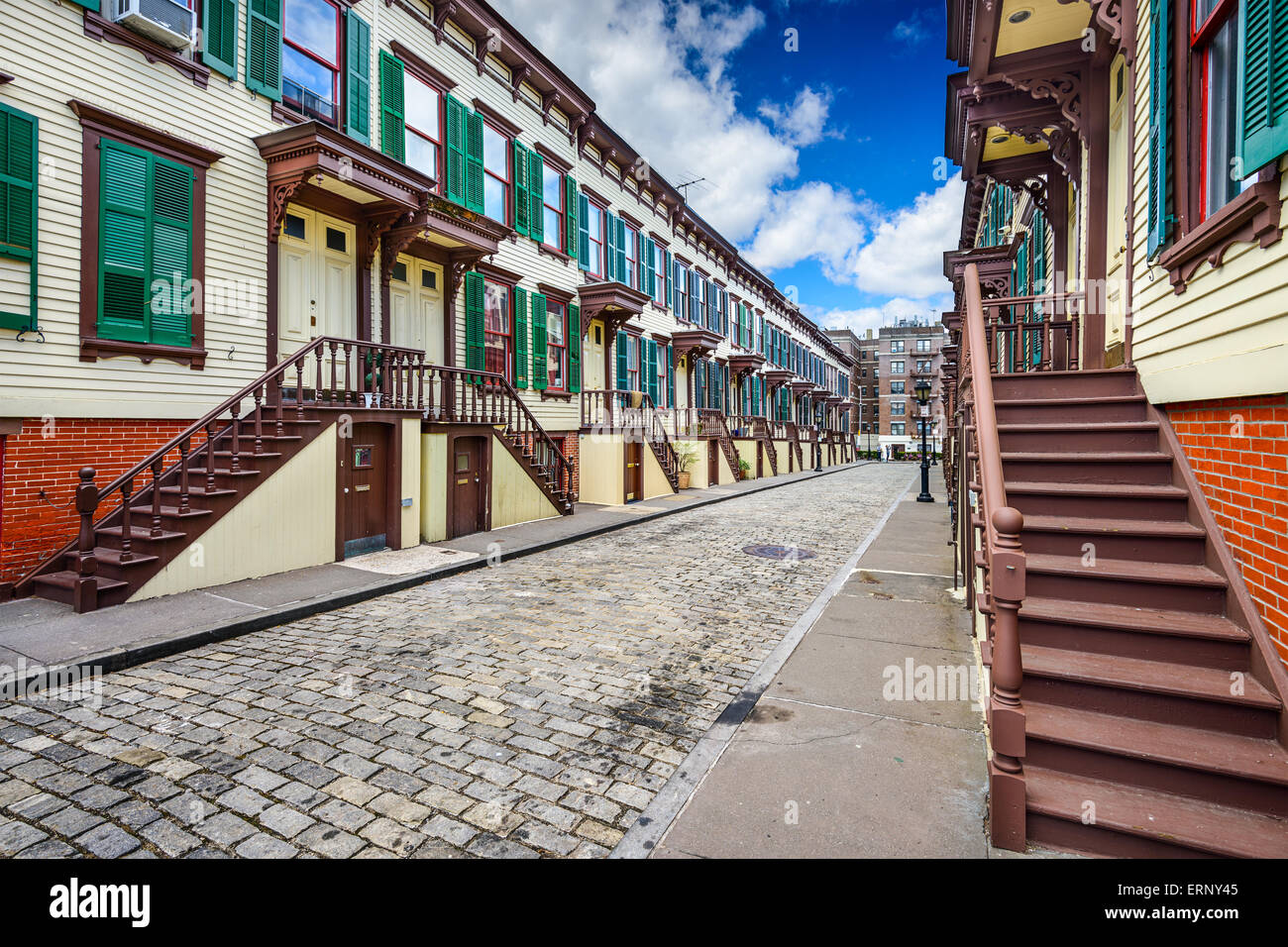 New York City, USA at townhouses in the Jumel Terrace Historic District. - Stock Image