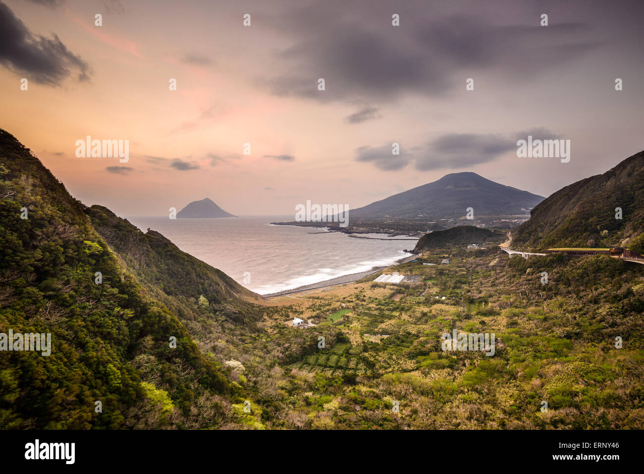 Hachijojima, Japan coastal landscape. - Stock Image
