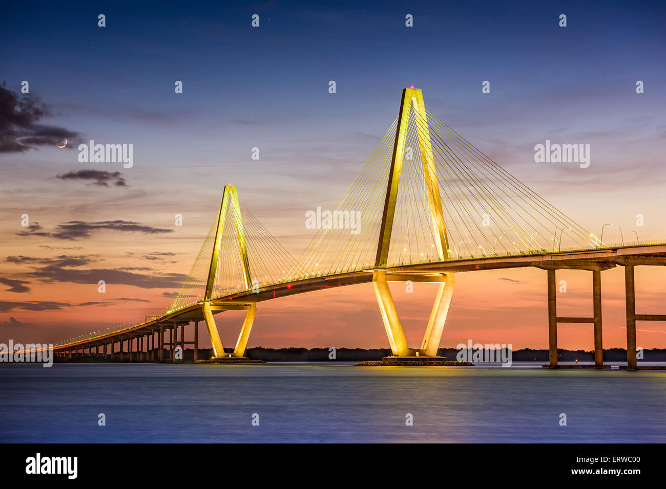 Charleston, South Carolina, USA at Arthur Ravenel Jr. Bridge. - Stock Image