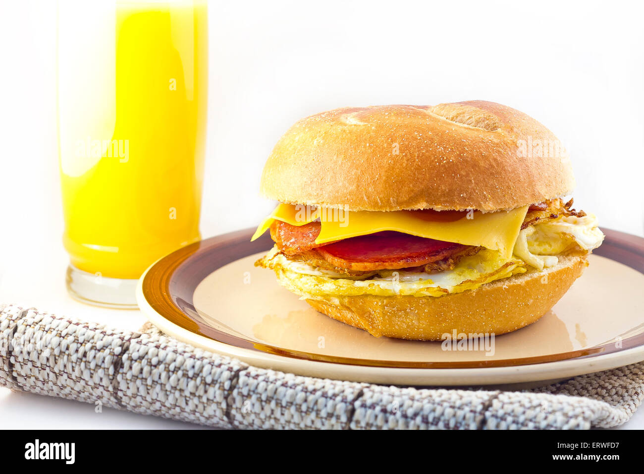 Taylor ham, pork roll, egg and cheese breakfast sandwich on a kaiser roll from New Jersey Stock Photo