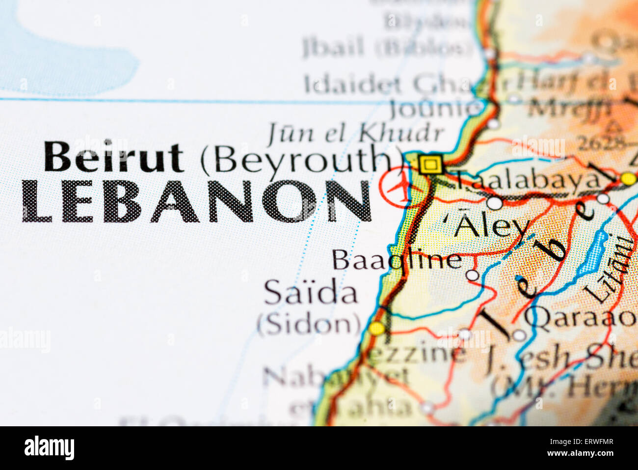Close up map of Beirut and the Lebanon - Stock Image