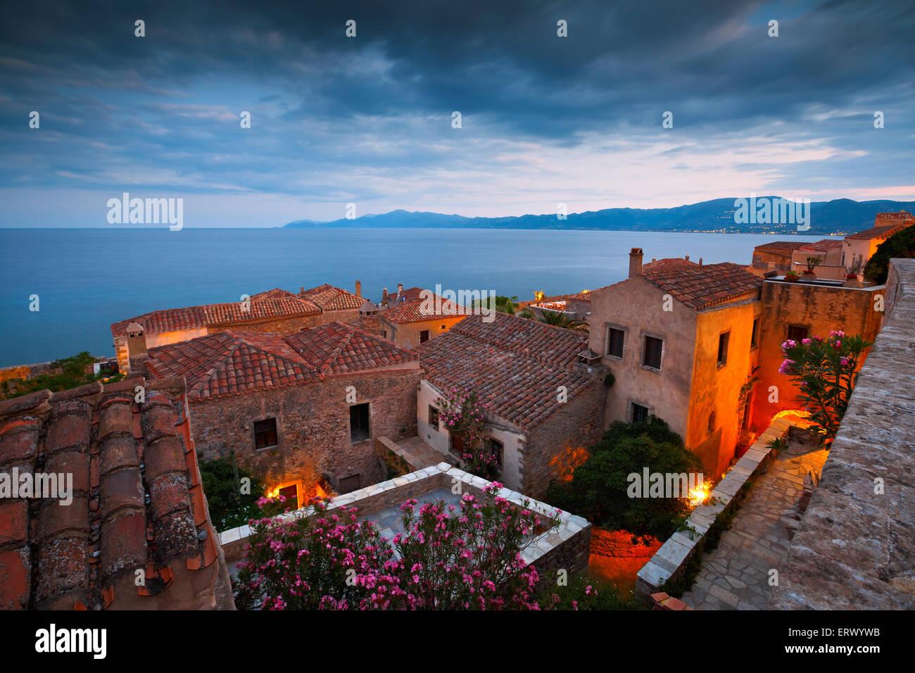 Monemvasia village in Peloponnese, Greece. - Stock Image
