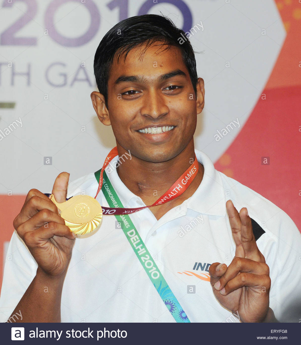 K ravi kumar gold  medal winner in 69 kg weightlifting competition in nineteen commonwealth games ; New Delhi ; - Stock Image