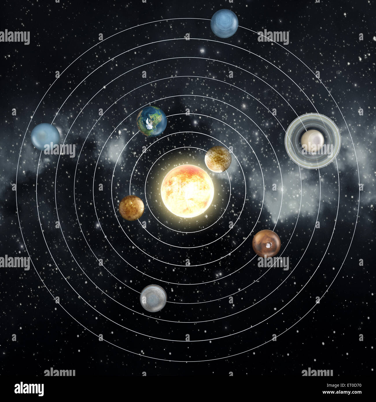 solar system diagram in the space stock photo 83603604 alamy rh alamy com diagram of solar system for kids diagram of solar system orbits