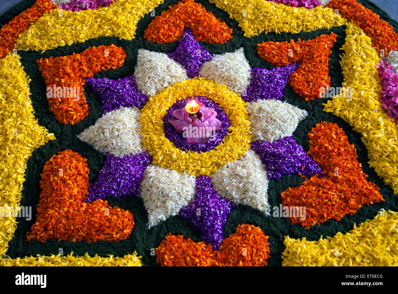 Flower Decoration For Onam Festival Kerala India Stock Photo