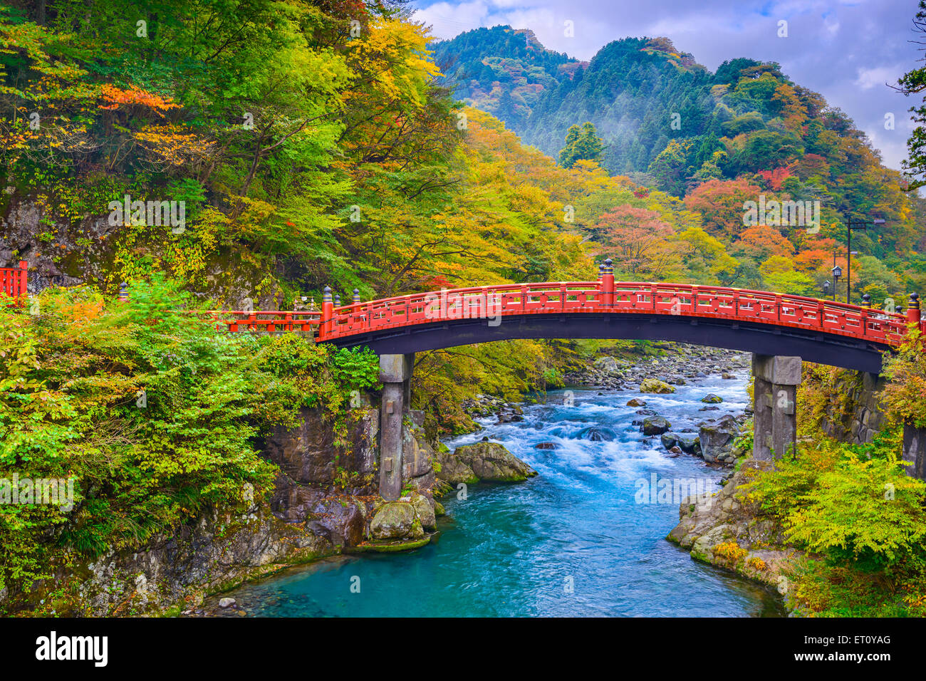 Nikko, Japan at the Shinkyo Bridge over the Daiwa River. - Stock Image