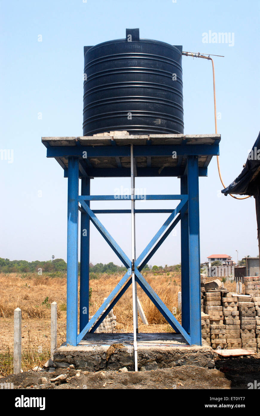 Circular poly plastic elevated water storage tank at Khadgoli ; Station Palghar ; District Thane ; Maharashtra ; India & Circular poly plastic elevated water storage tank at Khadgoli Stock ...