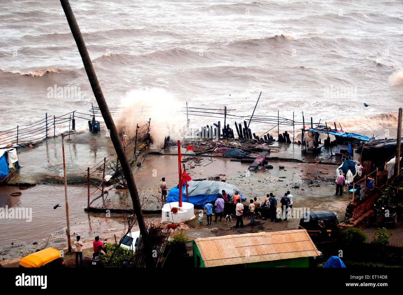 High tide destruction mumbai India - Stock Image