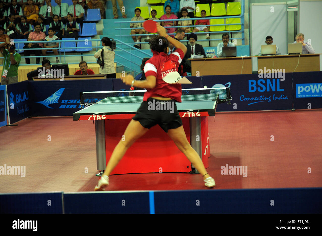 Neha aggarwal playing table tennis ; Pune ; Maharashtra ; India 15 October 2008 NOMR - Stock Image
