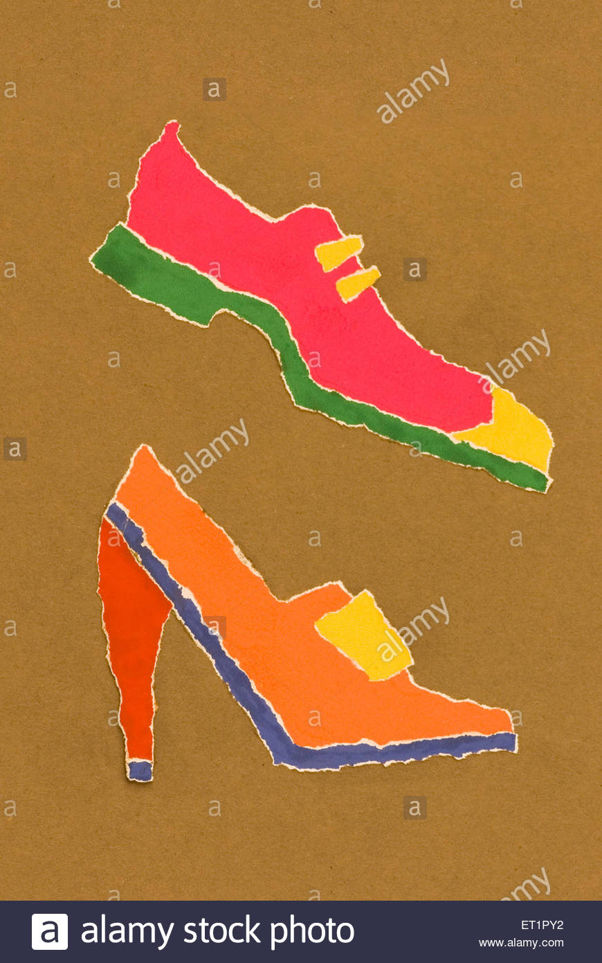 Poster colour paper ; patchwork ; fine art illustration painting of male and female stylist shoe ; footwear - Stock Image