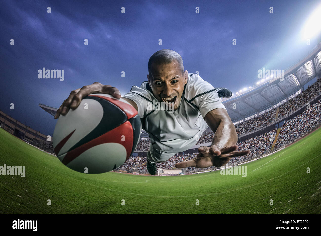 Bald male rugby player - Stock Image