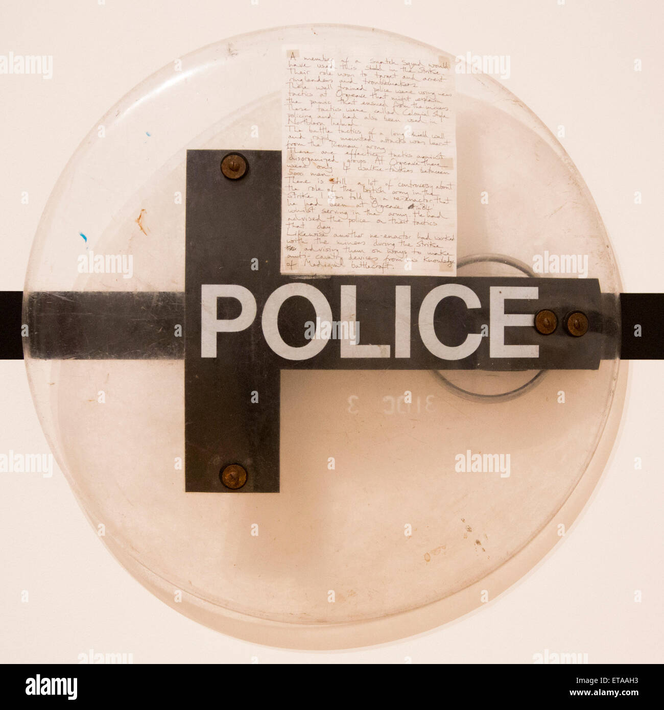 London, UK. 8 June 2015. Pictured: a Police Shield that might have been used in the battle. The Battle of Orgreave - Stock Image