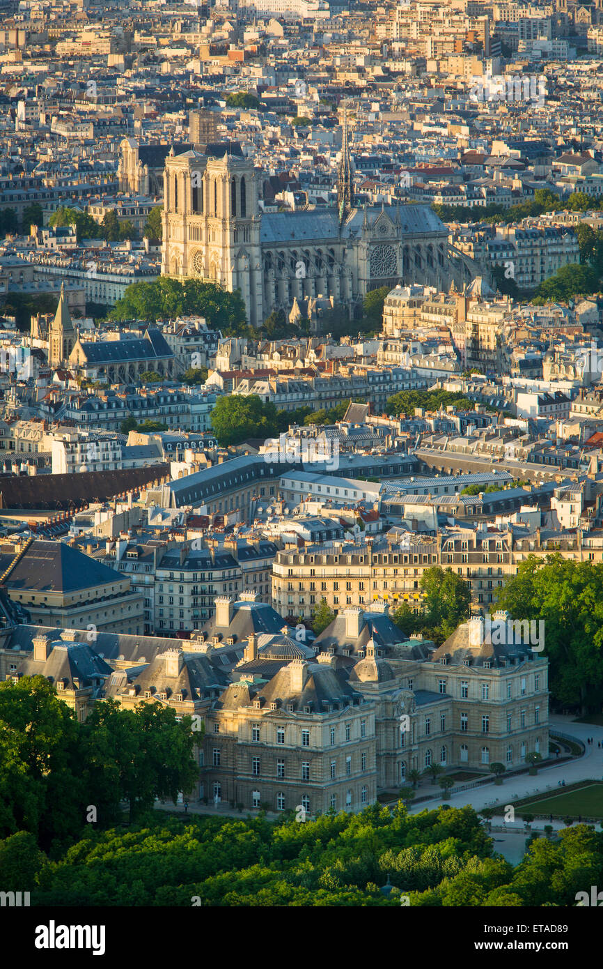 Overhead view of Paris with Cathedral Notre Dame and Palais Luxembourg, Paris, France - Stock Image