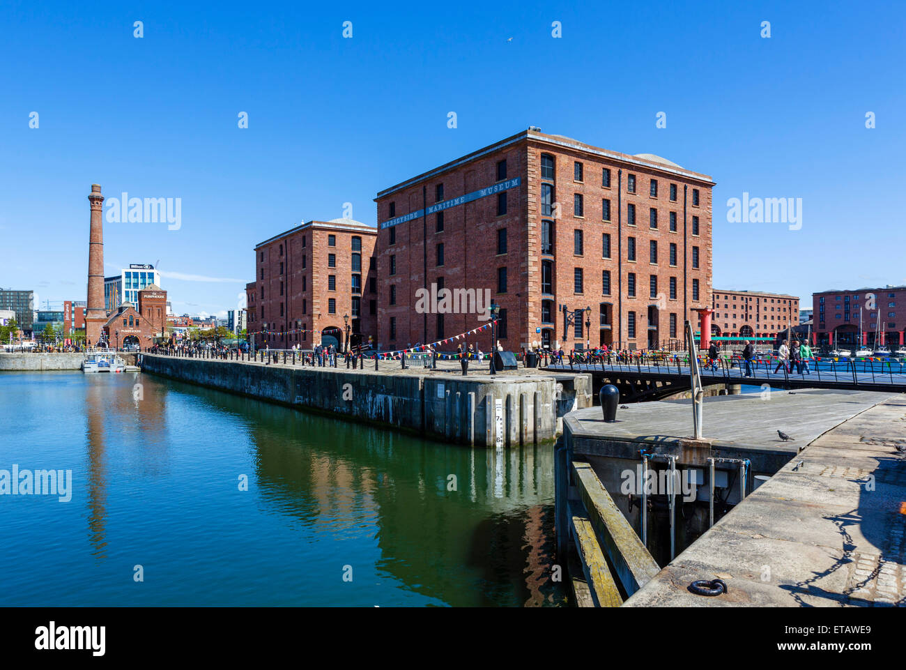 Hartley Quay and the Merseyside Maritime Museum, Albert Dock, Liverpool, Merseyside, England, UK - Stock Image