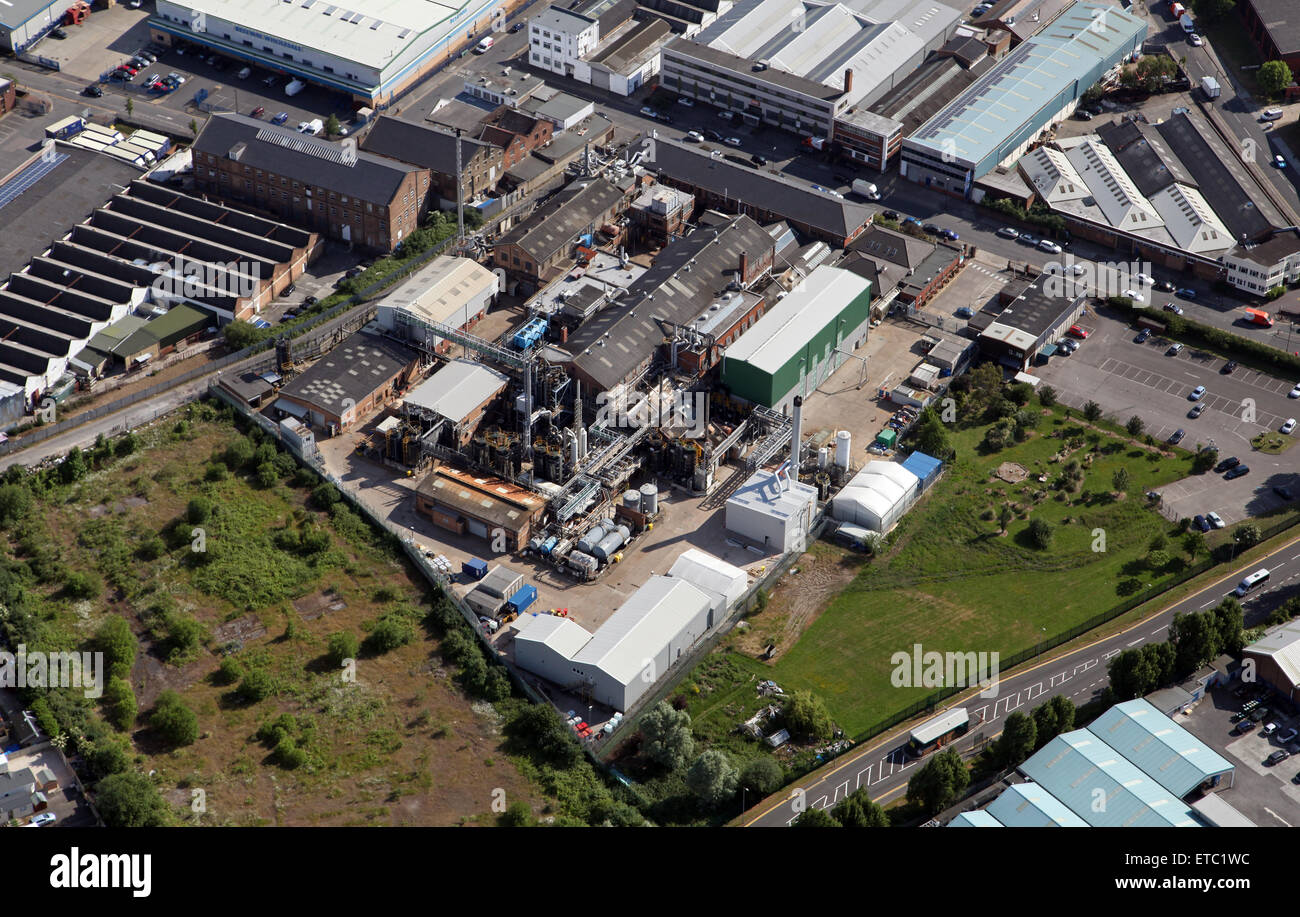 aerial view of a chemical works factory and production plant at Bashley Road, London NW10, UK - Stock Image
